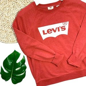 Levi's Red Cotton Relaxed Graphic Crewneck Jumper Pull On Sweatshirt Size Large